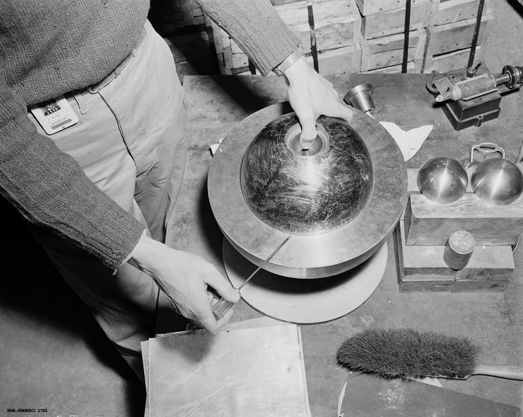 This mock-up of a plutonium core used in Los Alamos, New Mexico, leading up to the Trinity test gives a sense for the amount of fissile material needed to blow up an entire city