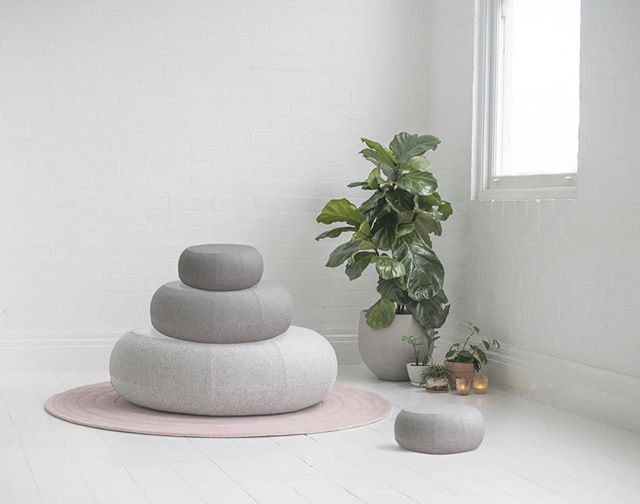 Create your happy place 🙏🏼 🧘‍♀️ Inspired by a Zen garden, Ricocher's design invites people to slow down and enjoy the peace and serenity that can be experienced while in nature. With its hand tufted rug and its high-density foam ottoman, Ricocher can be used as meditation seat, a foot rest or even a coffee table. Ricocher provides a softness inspired by nature making it perfect for relaxing at home after a long day's work or for recharging over the weekend. #furnituredesign #frenchdesigner #madeinaustralia #kvadrat #ricocher #ateliercayelle #ottoman #organicdesign #mindfulness #rugdesign #pattern #furniture #sustainabledesign #locallymade