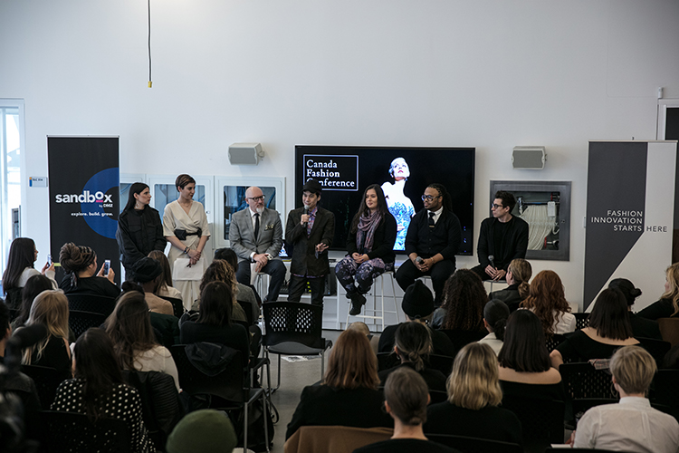 From Left to Right: Canada Fashion Conference Managers, Kelsi Gayda and Lindsay Romoff, Executive Directors of Canada Fashion Group, Roger Gingerich and Jeff Rustia, Fashion Designers Lesley Hampton and Rhowan James
