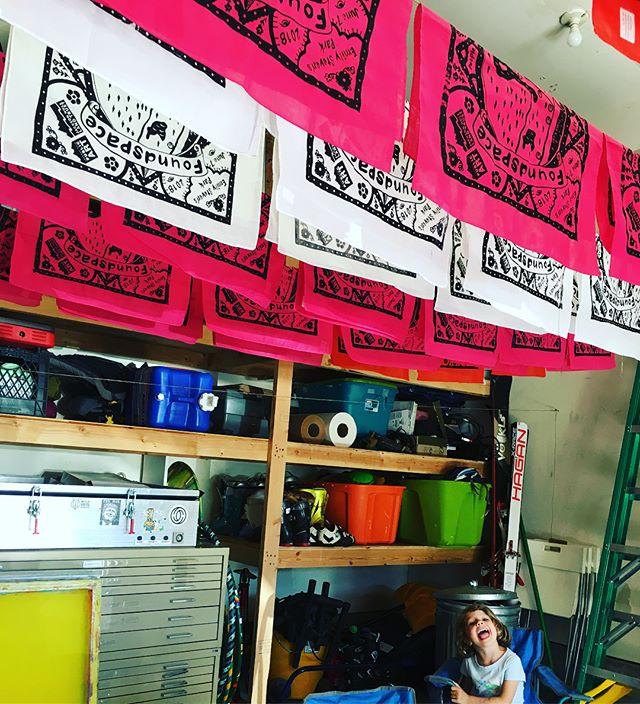 Printed a boatload of bandanas today. #wilsonmom @calbrackinart #foundspace @jhpublicart #jacksonhole