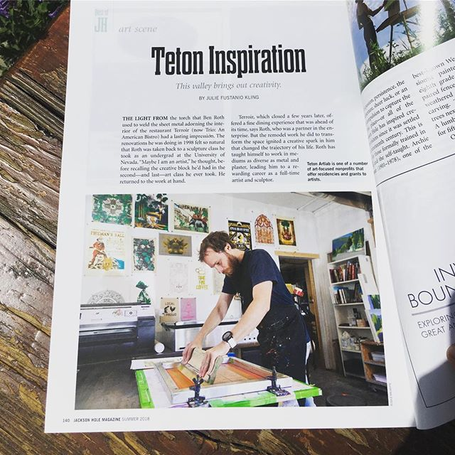 I had no idea I was in this summer's issue of #jacksonhole magazine until @traviswalkerart tipped me off today, but what do ya know! Great article about Jackson's art scene featuring @tetonartlab @rothinator @katyannfox @emilyboespflugart and more! #screenprinting #printmaking #print #tetons @jacksonholemag