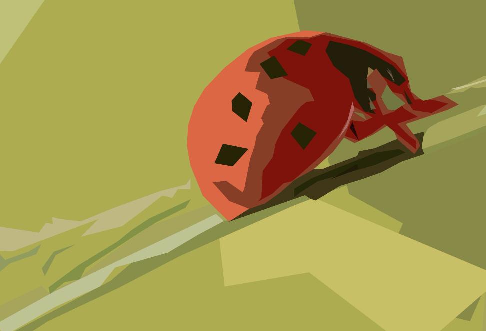 Ladybug on a leaf minimalist
