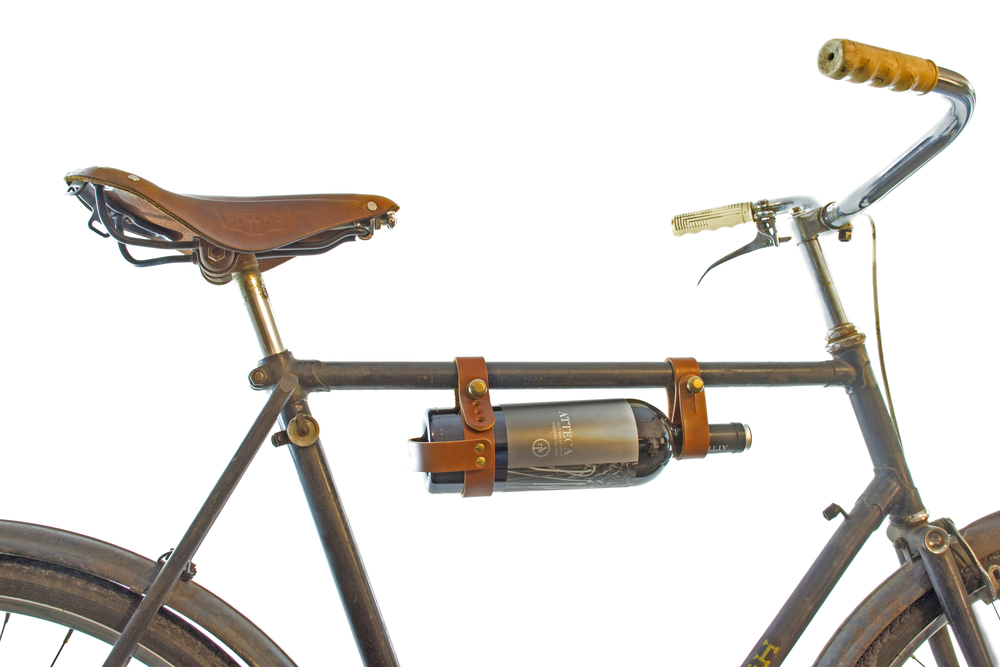 Exceptional OOPSMARK BICYCLE WINE CARRIER (LEATHER)