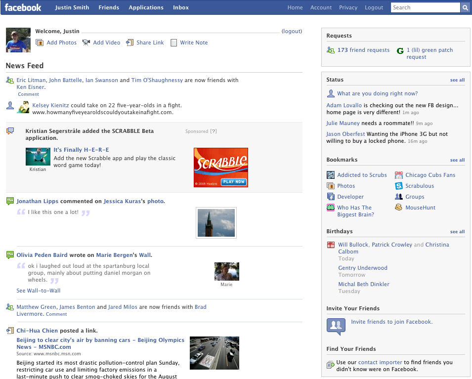 Facebook looked like this when Barack Obama was elected. Source:  Daily Dot .