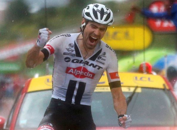 Tom Domoulin of Giant-Alpecin took the Queen stage of the Tour de France in Andorra