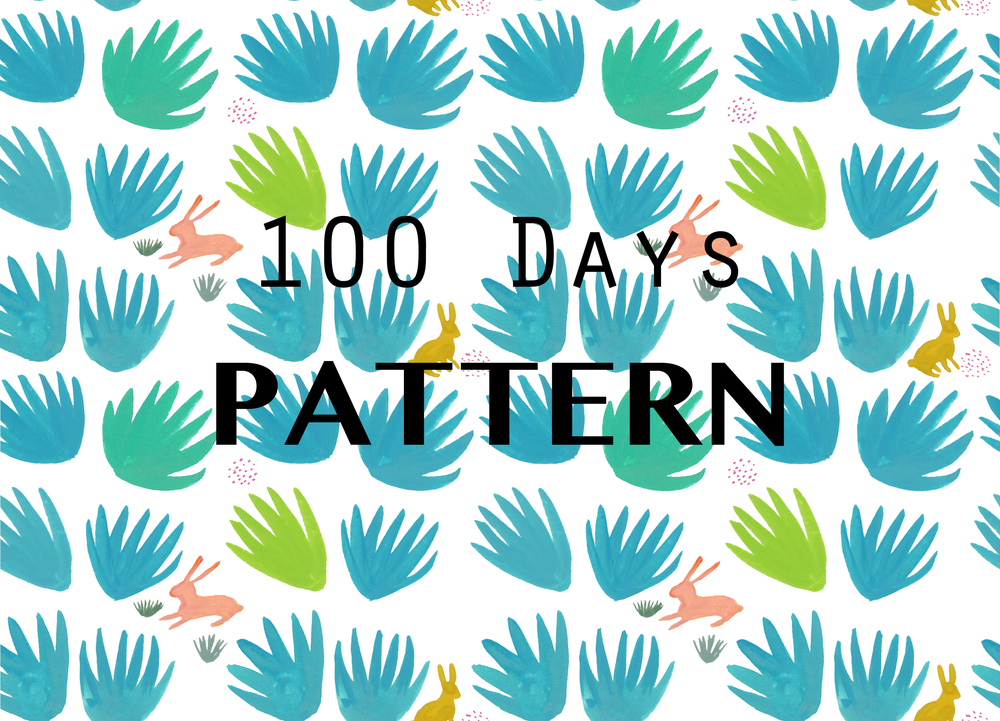 #100daysofpatternbydevon - my first post 1/100 to the 100 day project on Instagram. I painted the elements first in gouache then scanned and made them into repeat in Photoshop.
