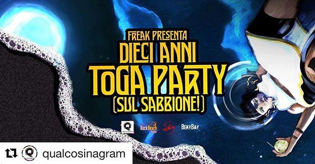 #Repost @qualcosinagram ・・・ Venerdì 3 Agosto 10 ANNI TOGA PARTY (sul sabbione!) @bekybay  Ingresso gratuito.  Dalle ore 22:00 live @lennonkelly.official + djs @lappaberry @eliorising @uptownpunkz  in collaborazione con @vidiaclub e rock beach festival  #10annifreak #freak #party #freeentry #live #lennonkelly #djset #djs #dj #djlappa #djelio #djzigna #pop #indie #rock  #alternative #punk #hardcore #anthems #electro #eclectic #qualcosina #qualcosinaparty #bellariaigeamarina #bekybay #spiaggialibera #toga #togaparty #10annitoga