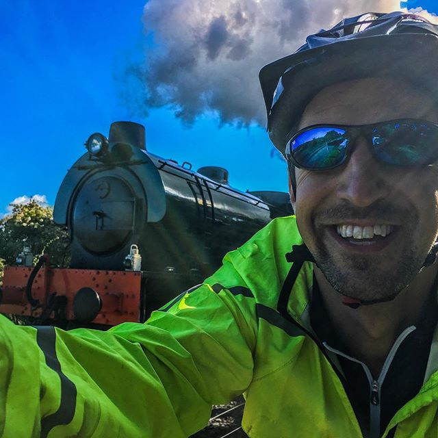 Today I raced a real live moving steam train on my bike and totally won!  Just one moment of a fabulous day in the saddle peddling from Bath to Cheltenham with @fionalquinn as she undertakes her Lands End to John O'Groats challenge.  #steamtrain #train #cycle #race #bike #peddle #lejog #england #adventure #uk #sayyesmore #bath #bristol