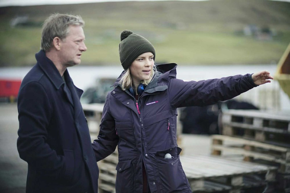 Isabelle on the set of 'Shetland' with the show's star, Douglas Henshall.