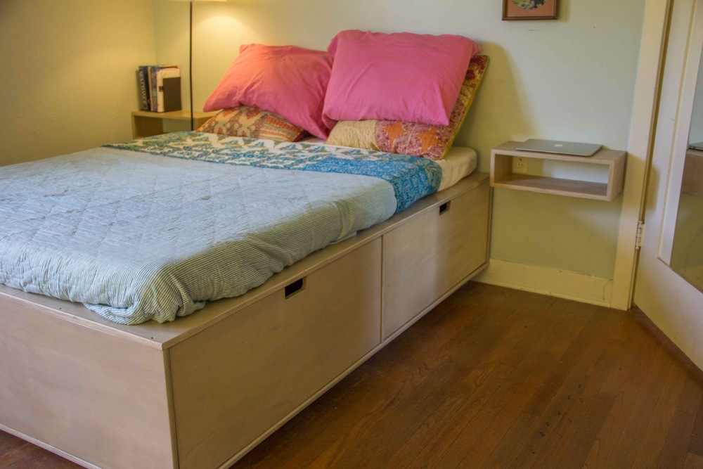 Plywood bed with lots of storage