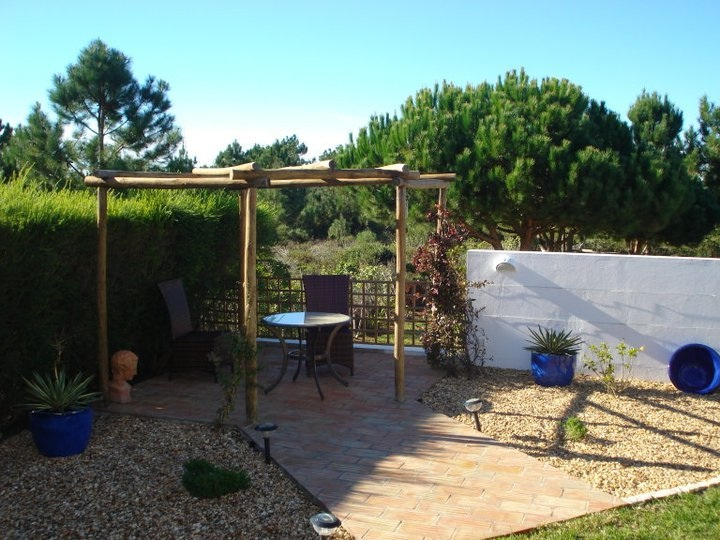 Pergola made out of eucalyptus wood
