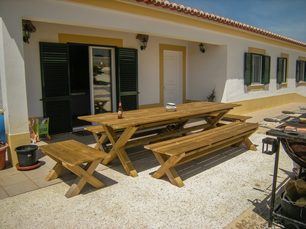 Outside table with benches