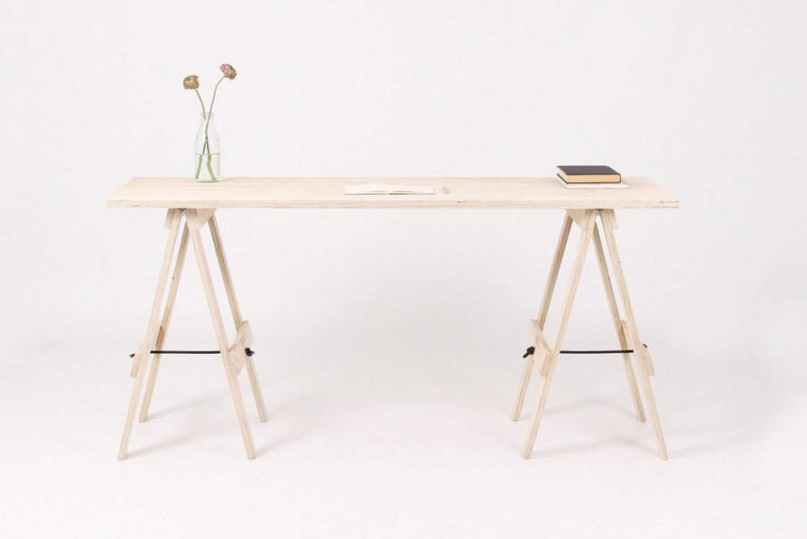 Birch Plywood Table with Trestles