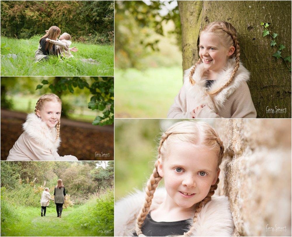 mum and little girl autumn photo shoot Caldicot Castle