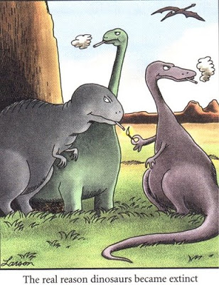 Gary Larson The real reason dinosaurs went extinct cartoon
