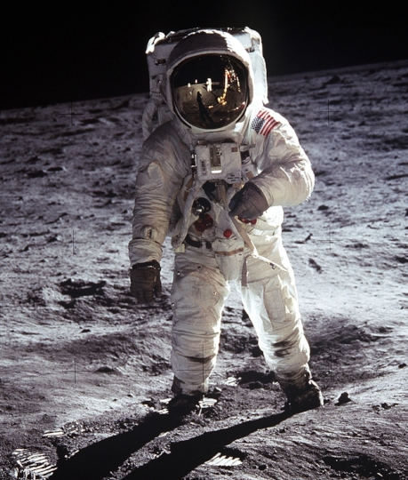 Here's Buzz Aldrin in a spacesuit on the moon.