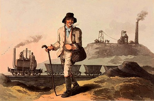 Here's what a fashionable coal miner looked like in 1814. This is also the first drawing ever of a train (well, at least according to Wikipedia). The locomotive in the drawing is both burning and transporting coal.