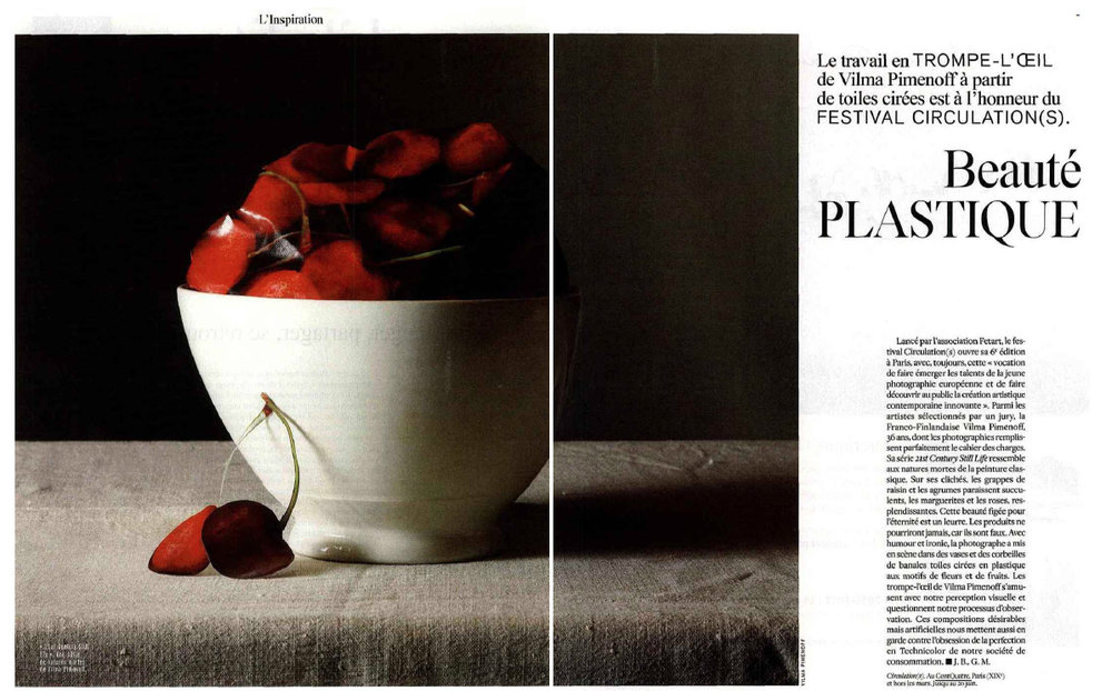 l'Express Styles, l'Inspiration: Beaute plastique, le travail de Vilma Pimenoff 30th of March pages: 8-9