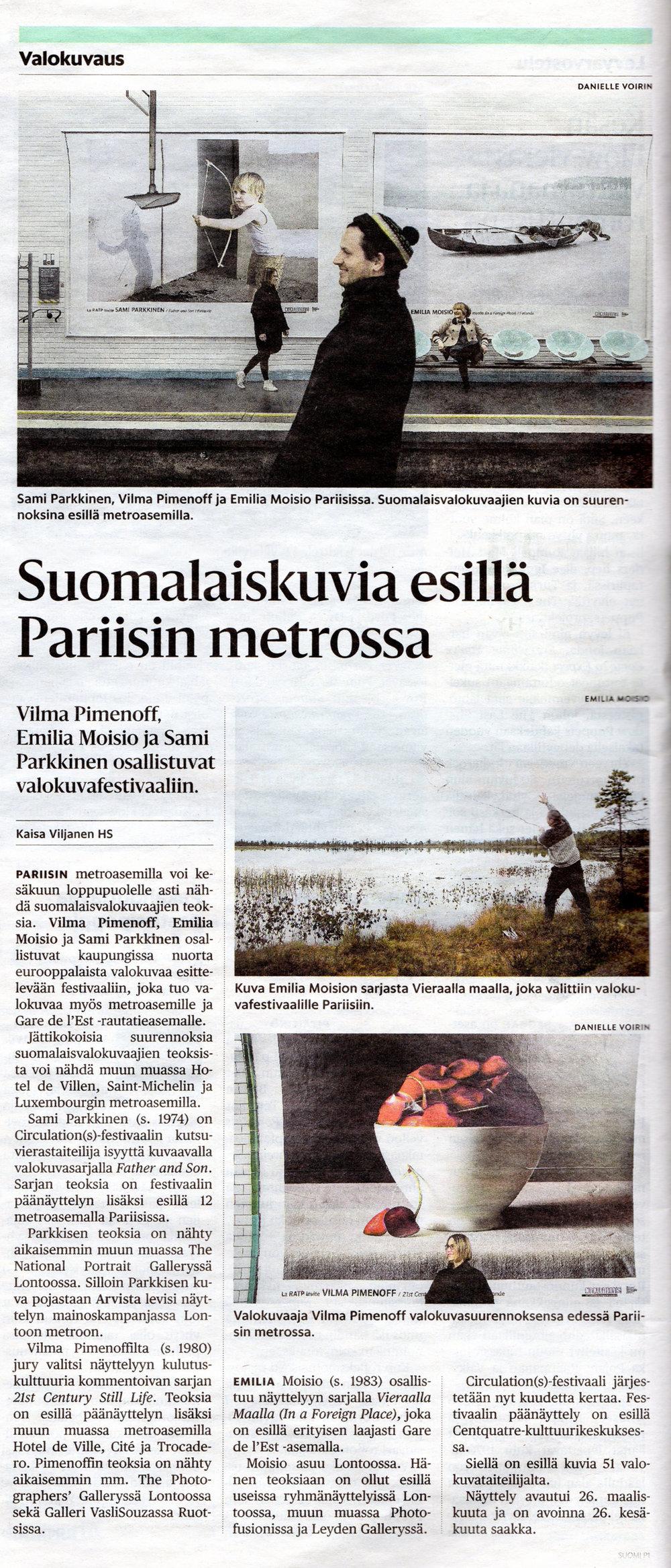 Helsingin Sanomat, Kulttuuri: Suomalaiskuvia esillä Pariisin metrossa, 30th of March 2016 page: 16