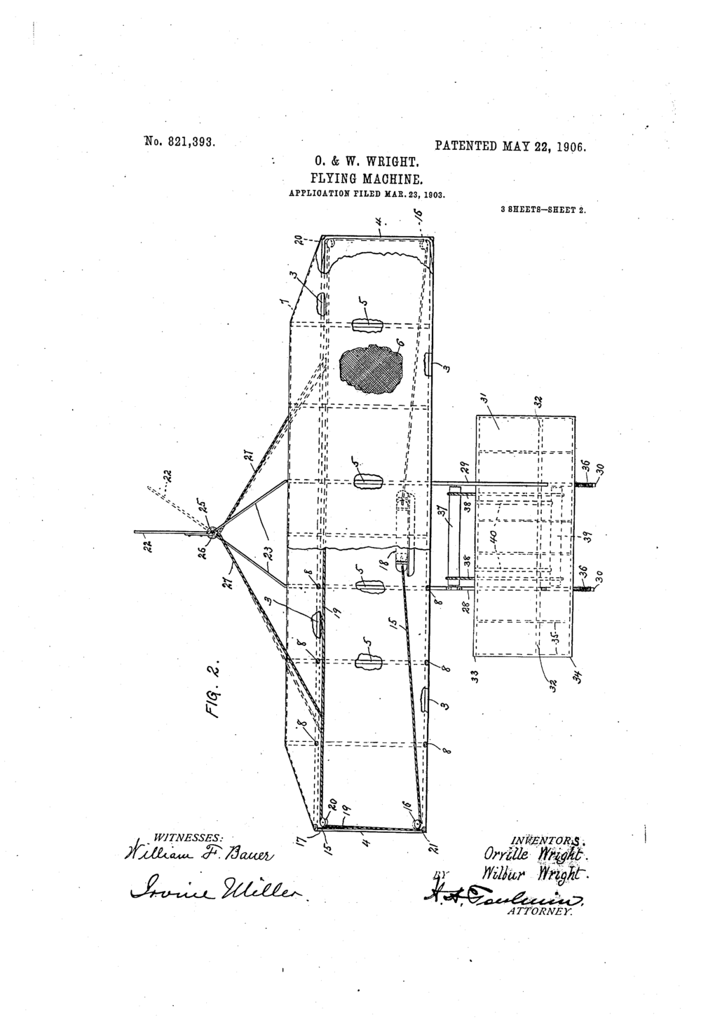 Patent: Flying-machine. US 821393 A Filed: March 23rd 1903.