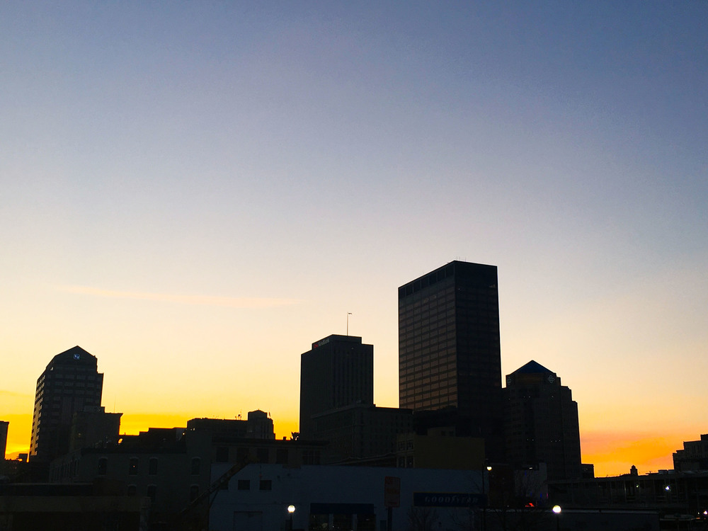 The awesome view of Downtown from Warped Wing's front door.