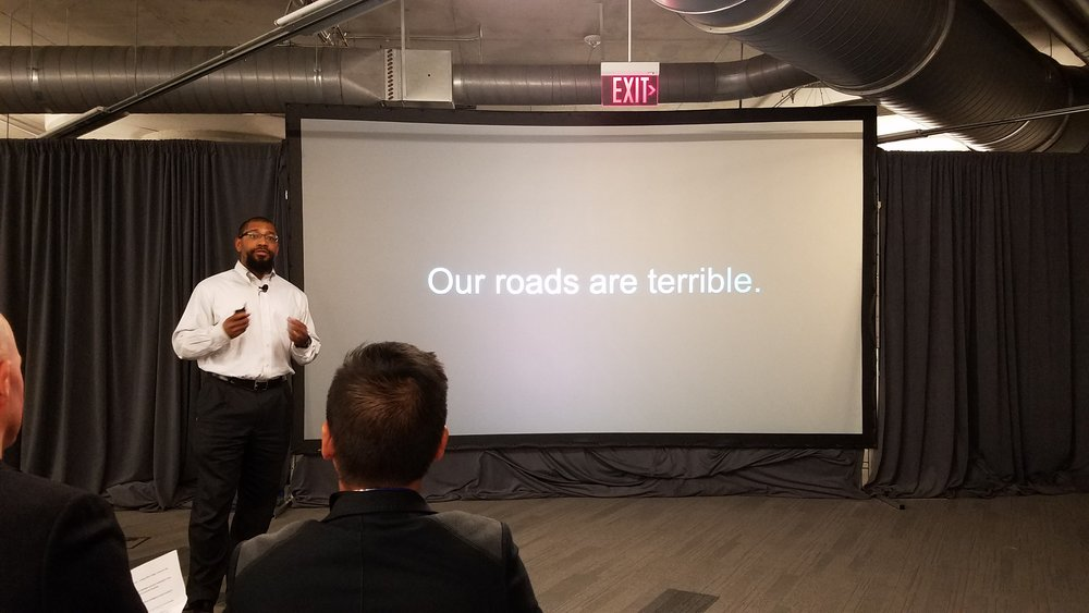 Dayton startup Road-Aid's founder James Bridgers shared his innovative solution to an obvious societal pain point last night at Uptech Demo Day.