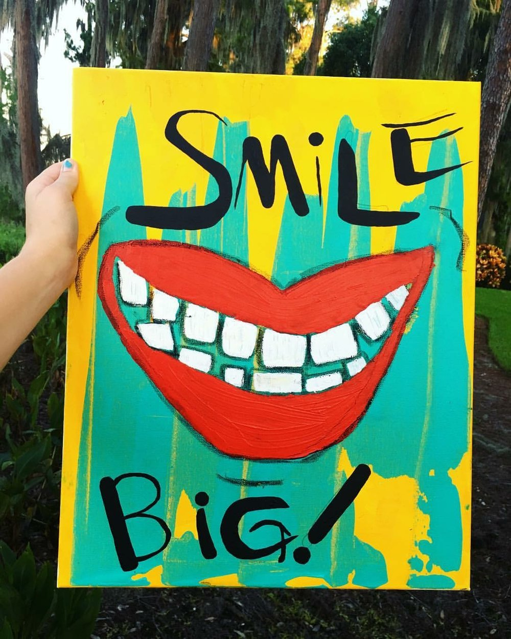 """""""Smile Big"""" 20 x 16 acrylic and oil pastel - 75$"""