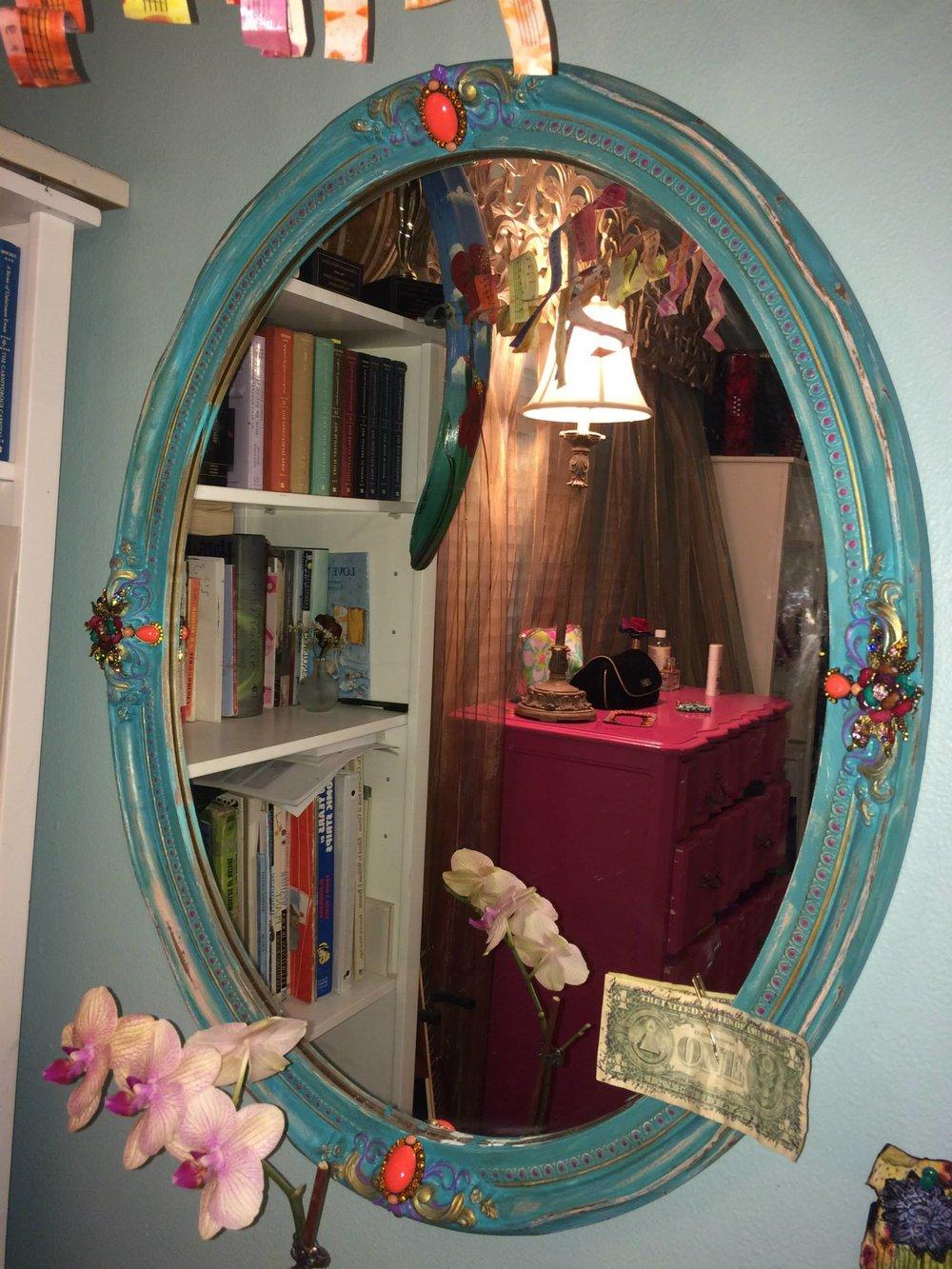 Custom designed mirror - Mixed Media (sold)