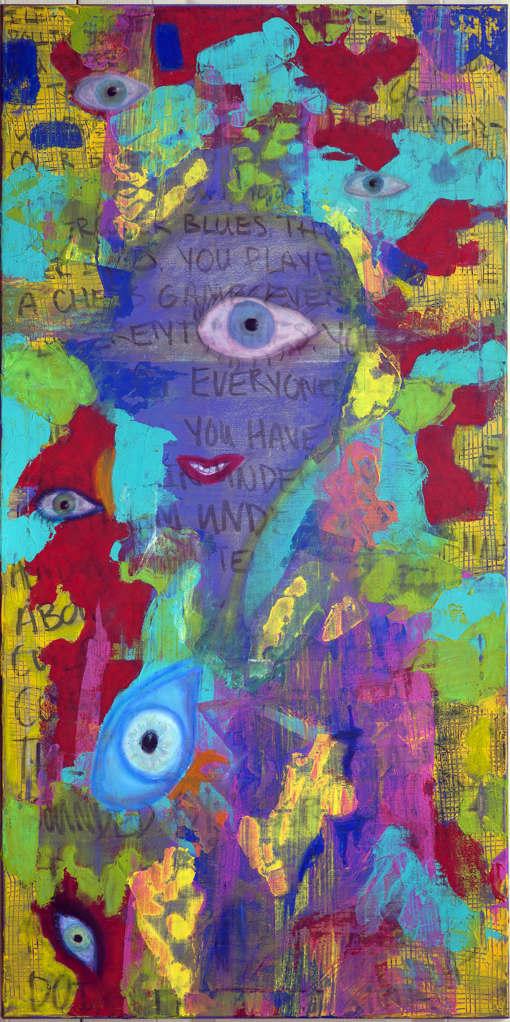 """""""Undercover Blues""""24x48 oil pastel and acrylic - 750$"""