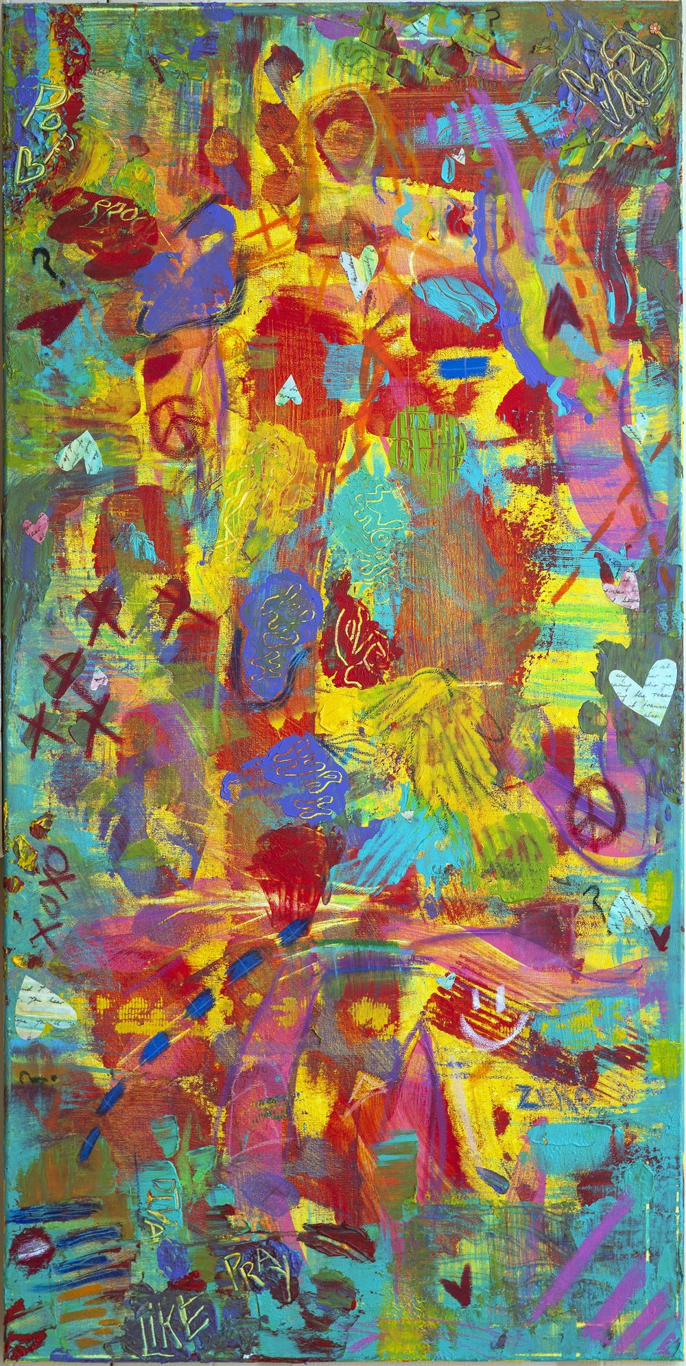 """She is Happy"" 24x48 mixed media - $1200 (sold)"