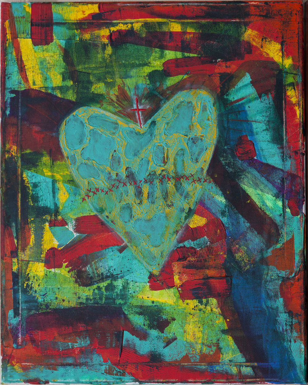 """""""Sacred Heart""""20x16 oil, acrylic and oil pastel - (Sold)"""