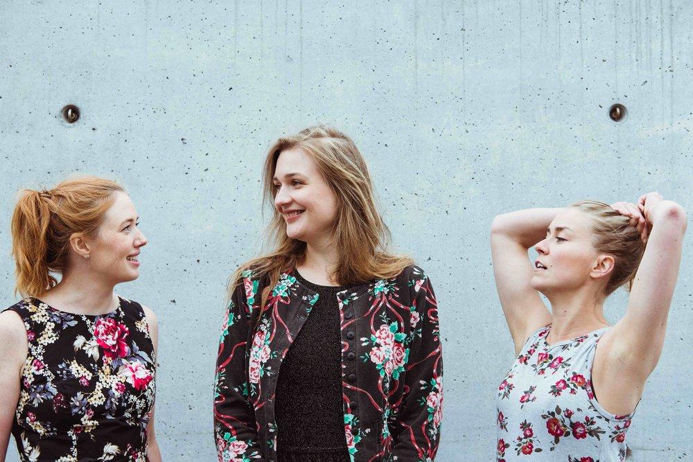 The artistic directors Bergdis Julia Johannsdottir and Anna Korolainen, and the dramaturge Minerva Pietilä in Reykjavik in July 2017