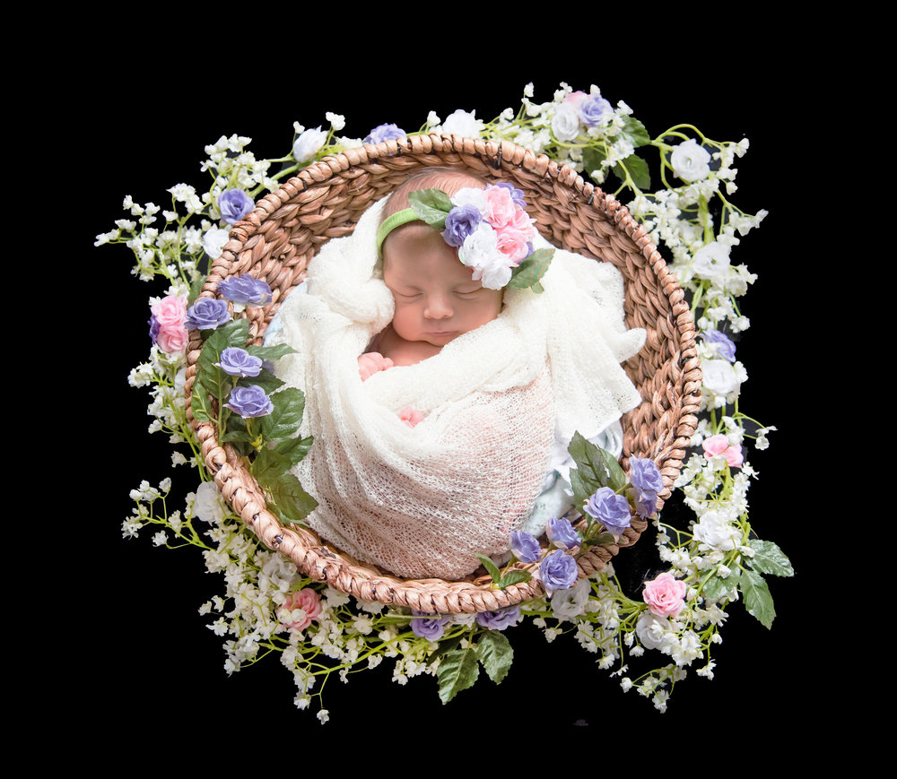 Baby in flower basket