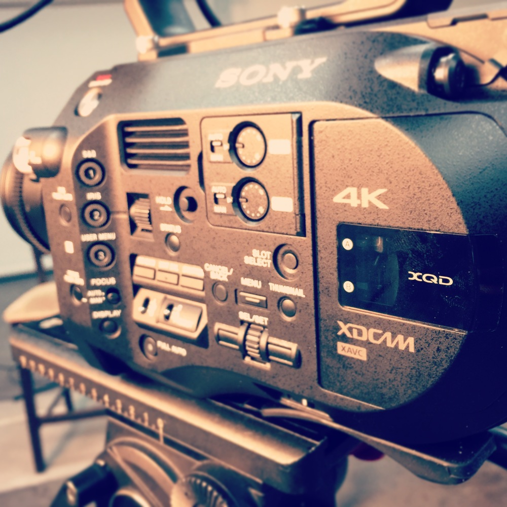 Sony FS7 4k camera setup for interview in the studio.