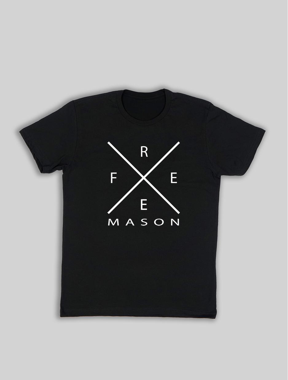 Black t shirt white cross - Free Mason Cross Design Black Shirt