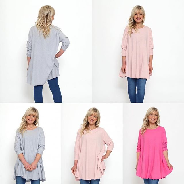 These fabulous everyday relaxed tops go upto a size 20.  A variety of colours in store now priced at £36
