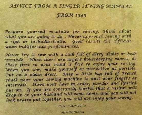 Advice from a 1949 Singer Sewing Manual