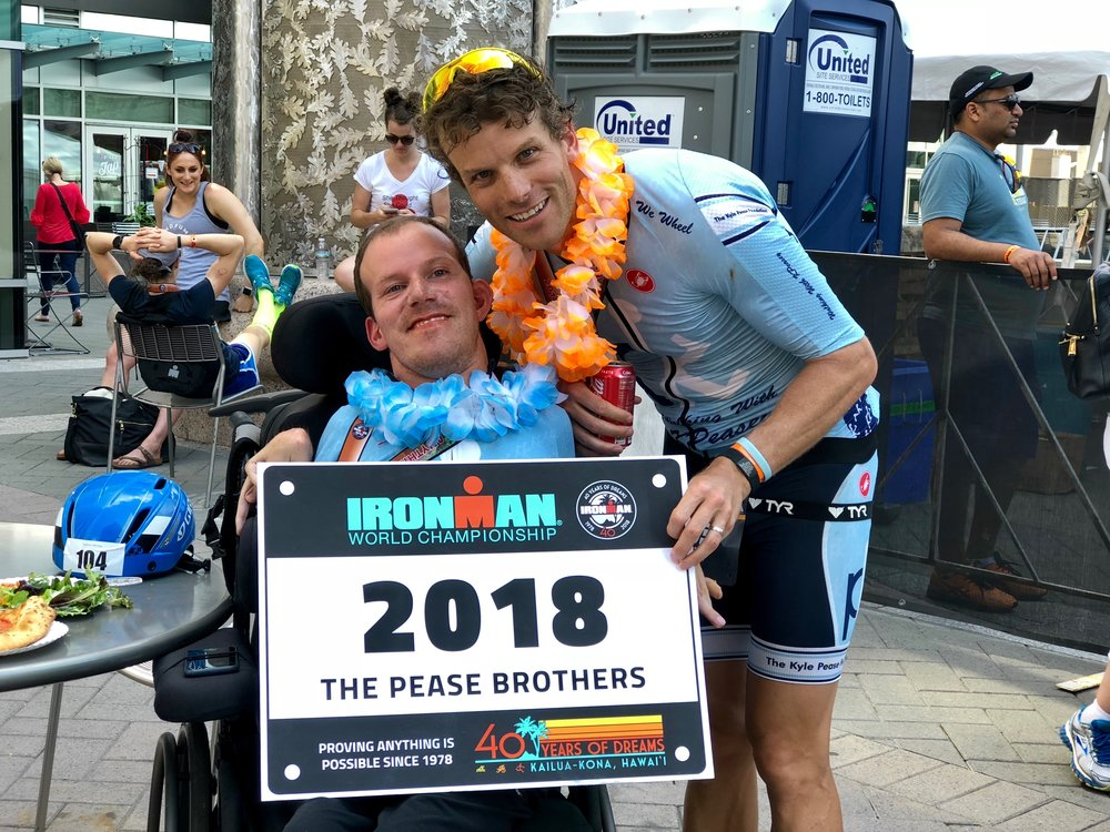 Brent and Kyle accepting invitation to Ironman World Championship in KONA after finishing Ironman 70.3 Raleigh.