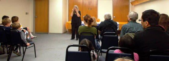 Granny Sue Holstein tells ghost stories at the Morgantown Public Library