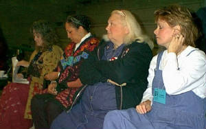 Granny Sue, Ilene Evans, and The Mountain Women relax between performances