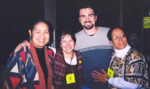 Lyn Ford, Tersi Bendinburg, Jason Burns, and Ilene Evans, Caribbean dinner at WV Storytelling Festival