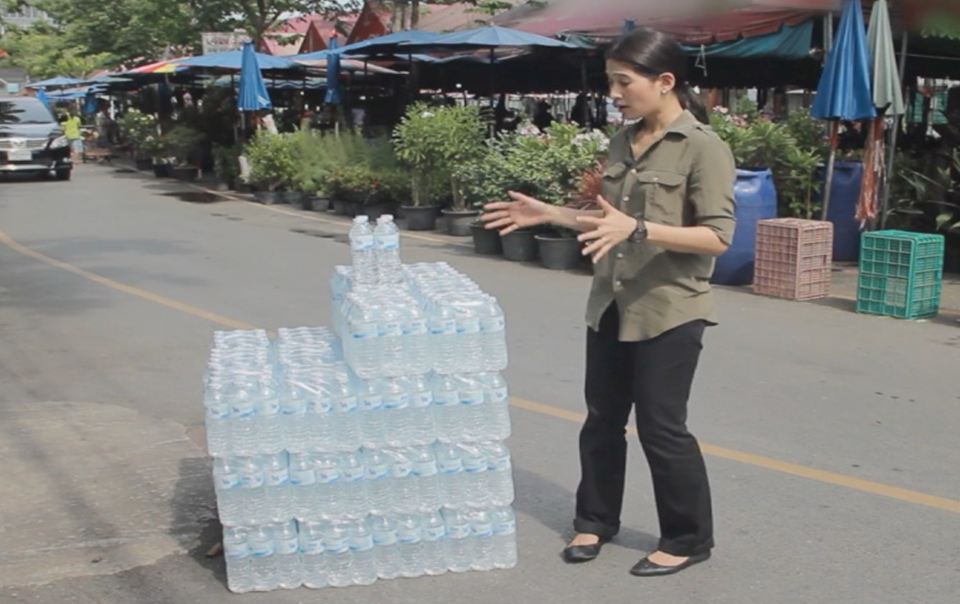 Scene from the film showing the amount of water used on average to generate each dollar (USD) of GDP