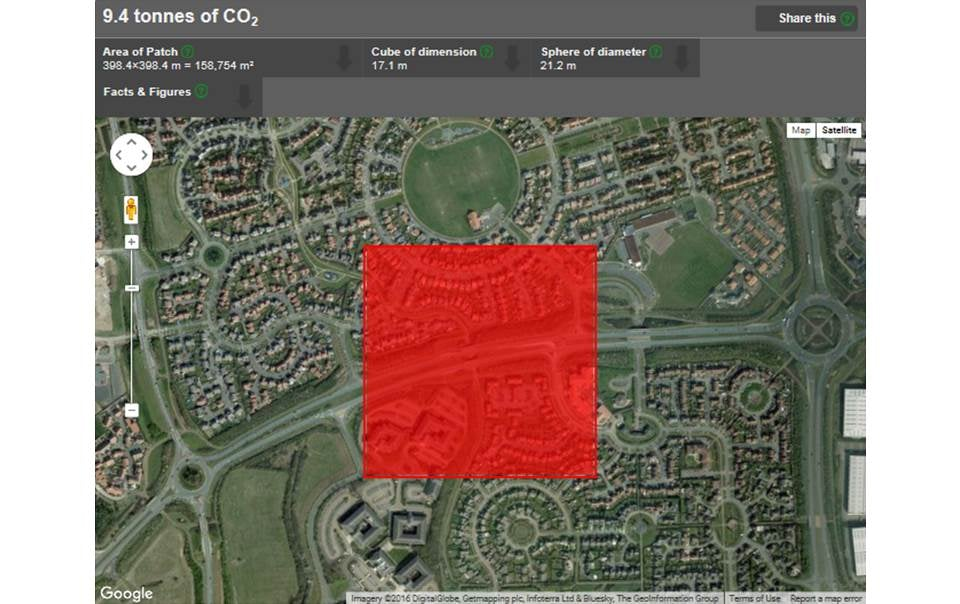 A 'patch'of the global carbon quilt - 9.4 tonnes of carbon dioxide over Milton Keynes