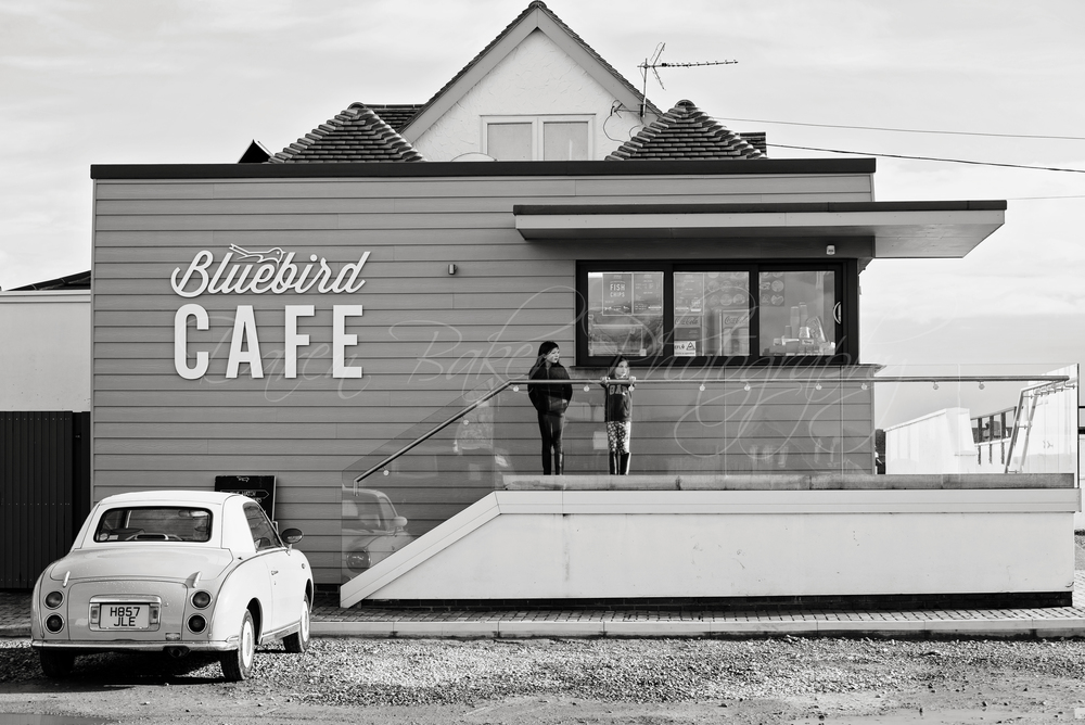 Black and white beach cafe, Ferring Sussex