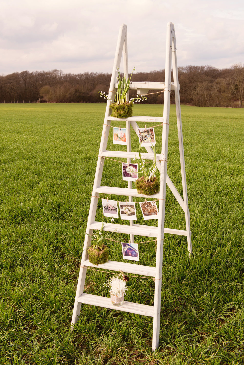 Wedding flowers on step ladder, Sussex