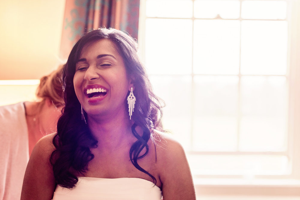 Laughing bride, wedding Windsor
