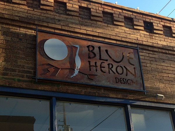 Handmade Metal Sign For Blue Heron Design Fossil Forge
