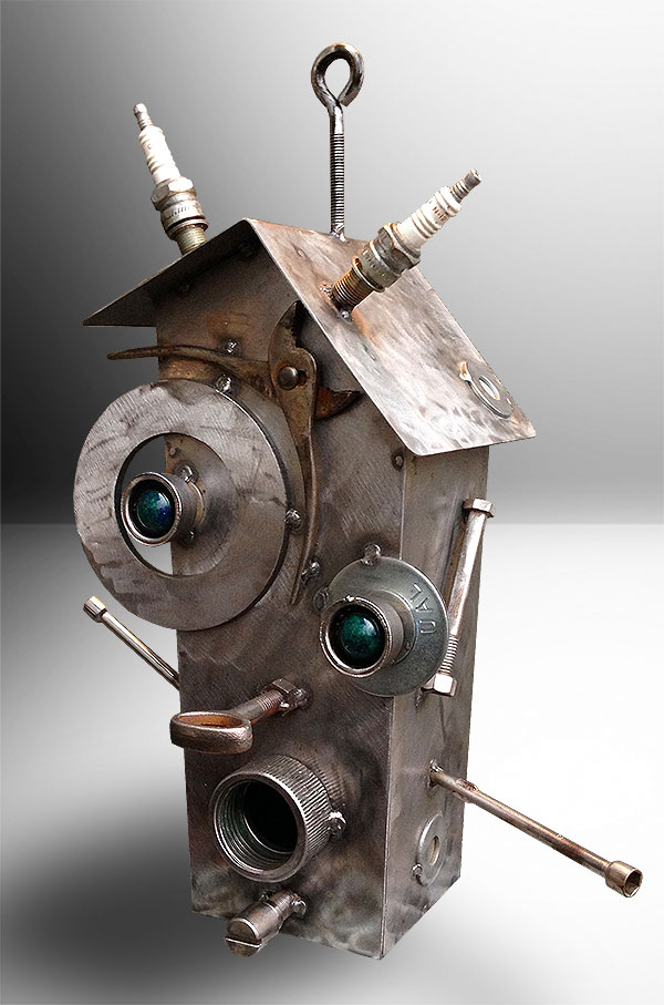 This Metal Birdhouse Is A Collection Of Parts Bolts And Stuff From My Shop Large Hook Allows It To Hang Or Can Just Sit On Its Bottom