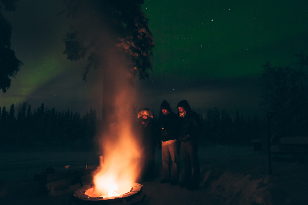 Nothing better than waiting out in the freezing cold by the fire pit with friends waiting on the Aurora Borealis.