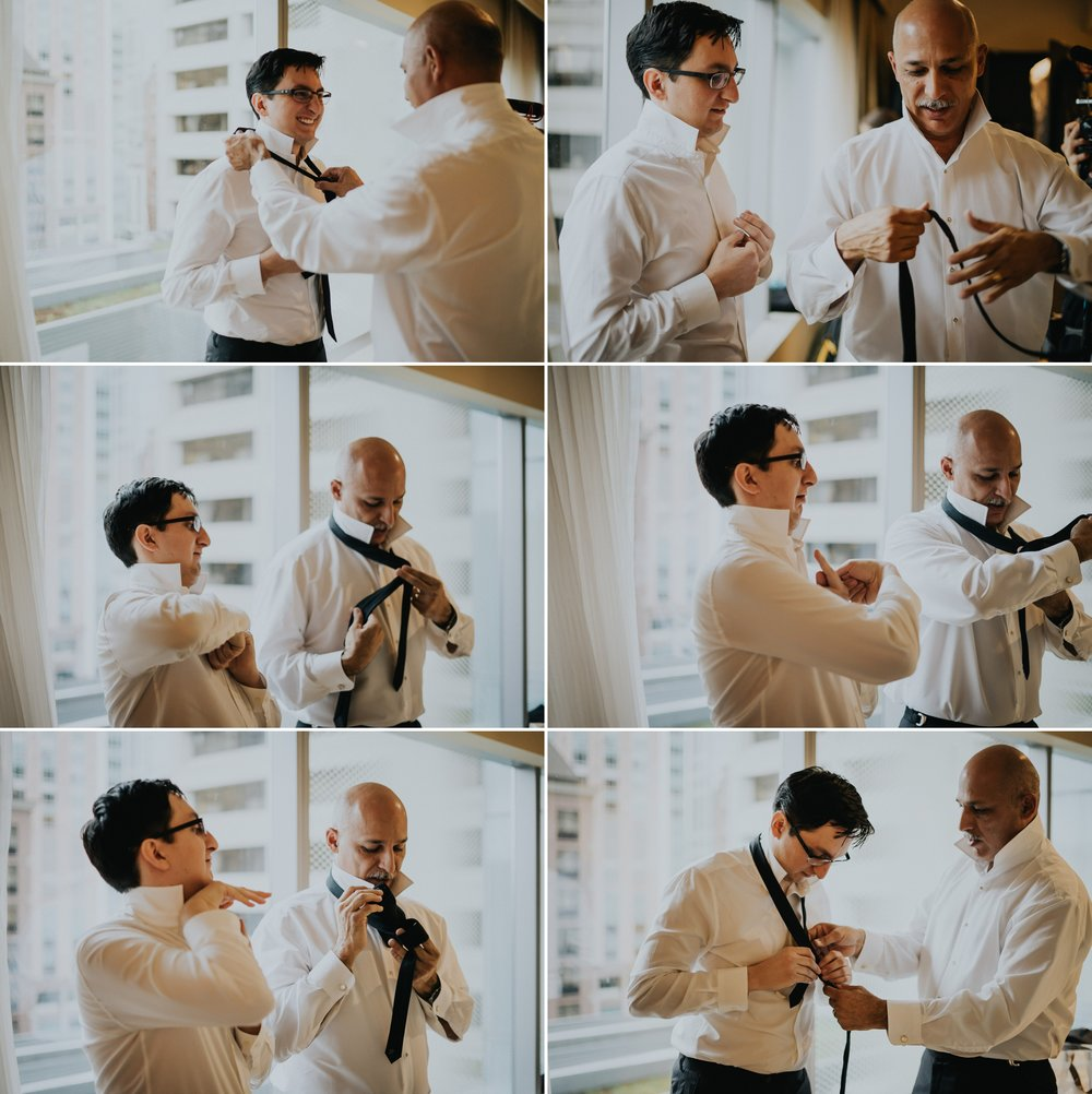 Candid moment father groom tie Alfred Tang Photography